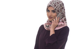 Muslim Woman With Mobile Phone Isolated Stock Image