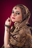The muslim woman with nice jewellery Royalty Free Stock Images