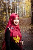 Muslim woman in North America during autumn Royalty Free Stock Photos