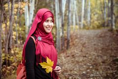 Muslim woman in North America during autumn Royalty Free Stock Photo