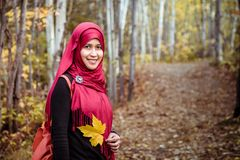 Muslim woman in North America during autumn Stock Photos