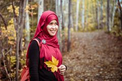 Muslim woman in North America during autumn Royalty Free Stock Images