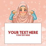 Muslim woman pointing finger down at copy space. Young muslim woman wearing hijab veil pointing finger down at copy space, cartoon character design, against pink royalty free illustration