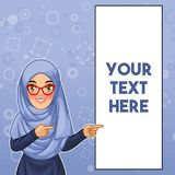 Muslim woman pointing finger to the left side at copy space. Young muslim woman wearing hijab and glasses pointing finger to the left side at copy space, cartoon vector illustration
