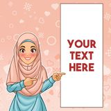 Muslim woman pointing finger to the left side at copy space. Young muslim woman wearing hijab veil pointing finger to the left side at copy space, cartoon royalty free illustration