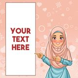 Muslim woman pointing finger to the right side at copy space. Young muslim woman wearing hijab veil pointing finger to the right side at copy space, cartoon royalty free illustration