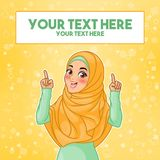 Muslim woman pointing finger up at copy space. Young muslim woman wearing hijab veil pointing finger up at copy space, cartoon character design, against yellow vector illustration