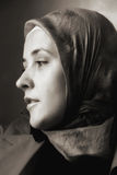 Muslim woman portrait in sepia stock photography