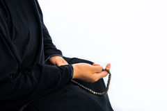 Muslim woman praying for Allah, muslim God.  Royalty Free Stock Photos