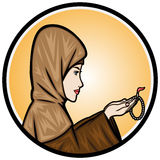 Muslim Woman Praying. Illustration Muslim woman praying and holding a rosary Stock Images