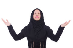Muslim woman praying. Isolated on white Stock Images