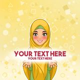 Muslim woman presenting text space vector illustration. Muslim woman wearing hijab veil presenting text space cartoon character design, against yellow background
