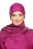 Muslim woman in a purple scarf Royalty Free Stock Images