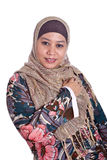 Muslim woman in scarf, isolated. Confident Muslim woman in scarf, isolated Royalty Free Stock Image