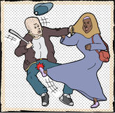 Muslim Woman Self-Defense. Muslim woman kicking man pulling on her head scarf Stock Photography