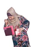 Muslim woman with shopping bags Royalty Free Stock Image