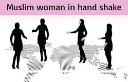 Muslim woman silhouette in hand shake pose Stock Photography