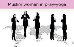 Muslim woman silhouette in pray pose Royalty Free Stock Photos
