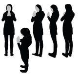 Muslim woman silhouette in pray pose Royalty Free Stock Photo