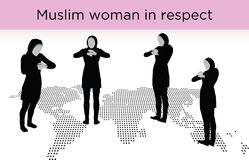 Muslim woman silhouette in respect pose Royalty Free Stock Image