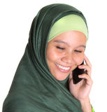 Muslim Woman With Smartphone II Royalty Free Stock Photos