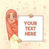 Muslim woman smiling holding blank board. Young muslim woman smiling holding white sign blank board, cartoon character design, against yellow background, vector Royalty Free Illustration