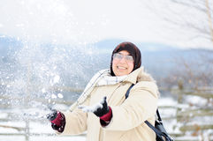 Muslim woman in snow Royalty Free Stock Image