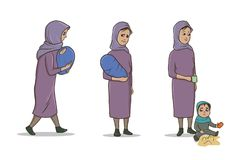 A Muslim Woman Standing with a Baby and Small Child. Female refugee. Vector Illustration Set, Isolated on White. stock illustration