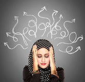 Muslim woman stressed having so many thoughts Stock Images