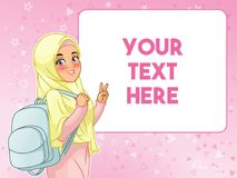 Muslim woman student cheerful holding backpack. Young muslim woman student cheerful holding backpack and showing peace gesture, cartoon character design, against royalty free illustration
