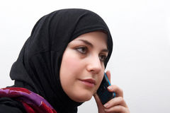 Muslim woman talking Stock Photography