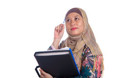 Muslim woman in thinking pose Stock Images