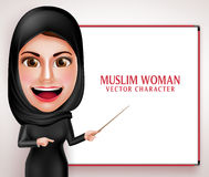 Muslim woman vector character presenting or teaching in white board Stock Photo
