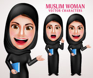 Muslim woman vector character set holding book with friendly smile Royalty Free Stock Photos