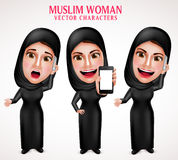 Muslim woman vector character set holding mobile phone and calling Royalty Free Stock Photography