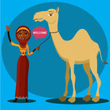 Muslim woman waving her hand with cartoon camel isolate on white background .Vector Illustration. Royalty Free Stock Photos
