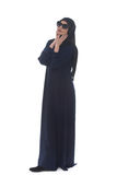 Muslim Woman Wearing Hijab And Sunglasses On White Royalty Free Stock Images