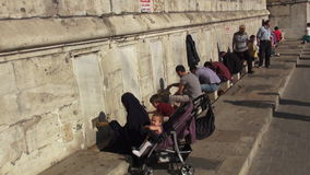 Muslim woman wudu for pray in front of the mosque stock video footage