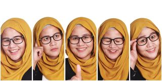 Muslim Woman& x27;s Facial Expressions Collage