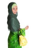 Muslim Woman With Yellow Handbag V Royalty Free Stock Images