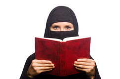 Muslim womanwith book isolated Stock Image
