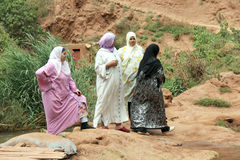 Muslim women. At the waterfalls of Ouzoud in Morocco royalty free stock images