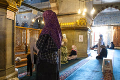 Muslim women. During prayer, new mosque Istanbul stock photography