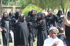 Muslim Women in Ashura program in Africa, Nairobi Kenya. Commemoration  for Islamic event known as Ashura for remembering Imam Hussein (a.s Royalty Free Stock Images
