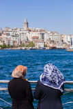 Muslim women on the Bosphorus Royalty Free Stock Photo