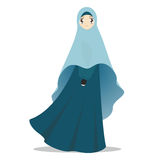 Muslim women cartoon illustration. Muslim women cartoon illustration wearing blue veil vector illustration