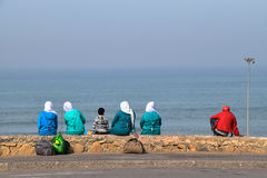 Muslim women with Hijab in the beach Royalty Free Stock Photos