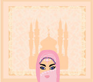 muslim women on mosque background. Royalty Free Stock Images