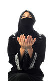 A muslim women pray. In isolated white background Royalty Free Stock Photos