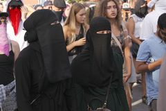 Free Muslim Women Protest At Demonstration Against Danish Legislation That Ban The Use Of Traditional Clothes Like Burqa And Niqab. Stock Image - 122751441